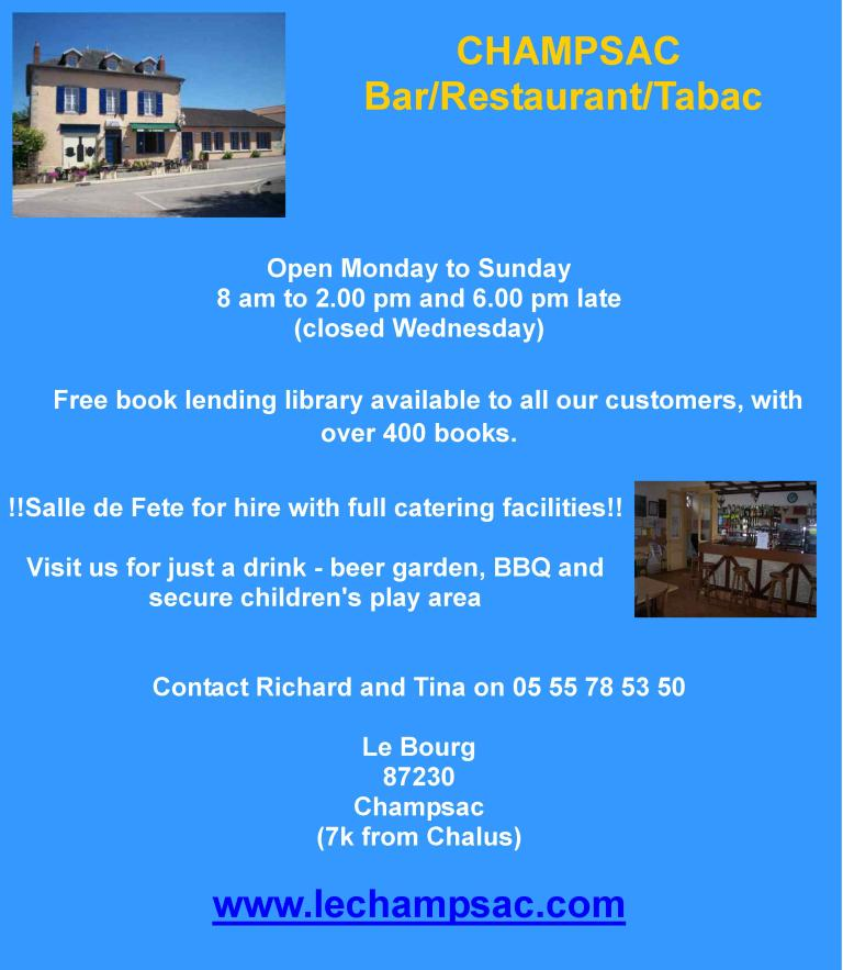 Champsac Bar Restaurant Tabac, Champsac, Haute Vienne, English bar, salle de fete fore hire, beer garden, events