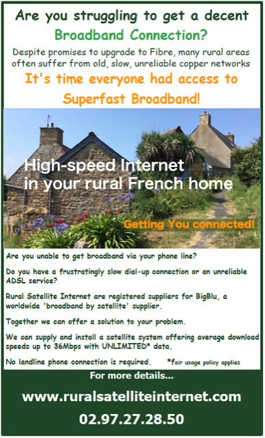 Rural Satellite Internet,broadband,internet connection,superfast broadband,France,English,Brittany,Normandy,Dordogne,Limousin,Poitou Charente,adsl,broadband satellite provider,no landline,unlimited data,supply,install