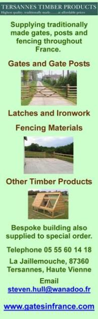 Gates in France,Tersannes Timber Products,gates,posts,fencing,gate posts,latches,ironwork,stables,kennels,hutches,arks,poultry coops,bespoke buildings