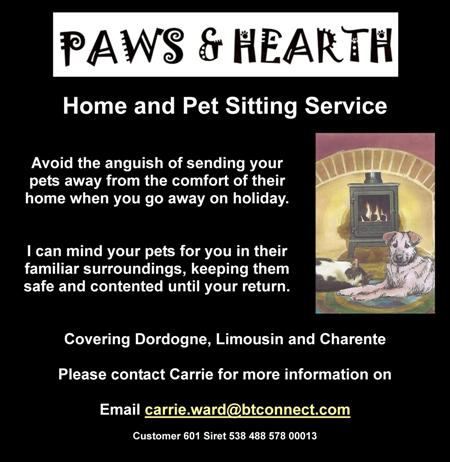 Carrie Ward,home sitting,pet sitting,dog sitting,cat sitting,animal sitting,Dordogne,Limousin,Charente,pet minding,holiday minding for your pets,English