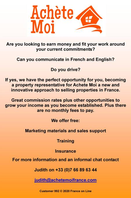 Achete Moi,French,English,estate agency,earn money,speak French,speak English,property representatives,commission